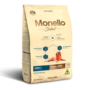 MONELLO SELECT SENIOR+7 FRANGO/ARROZ 15KG.